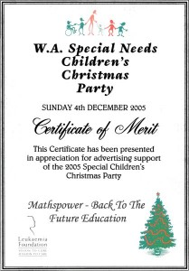 WA Special Needs Christmas Party Award 2005