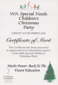 WA Special Needs Christmas Party Award 2006